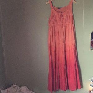 Orange red ombré boho cotton dress Mlle Gabrielle